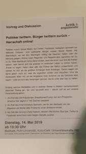 Kurz Beschreibung und Erläuterung des Vortrags in Bochum durch die Veranstalter